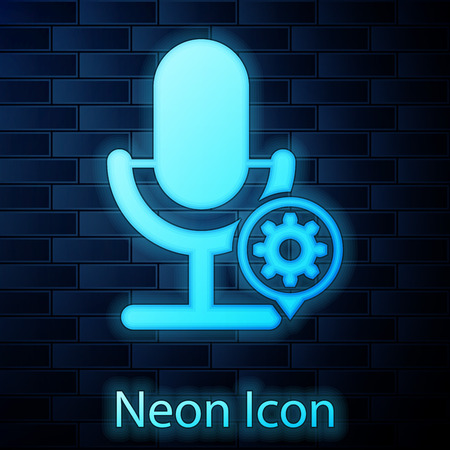 Glowing neon Microphone and gear icon isolated on brick wall background. Adjusting app, service concept, setting options, maintenance, repair, fixing. Vector Illustration