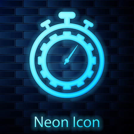Glowing neon Time Management icon isolated on brick wall background. Clock and gear sign. Productivity symbol. Vector Illustration