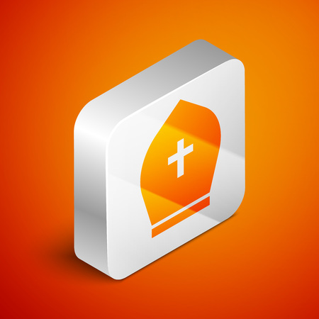 Isometric Pope hat icon isolated on orange background. Christian hat sign. Silver square button. Vector Illustration