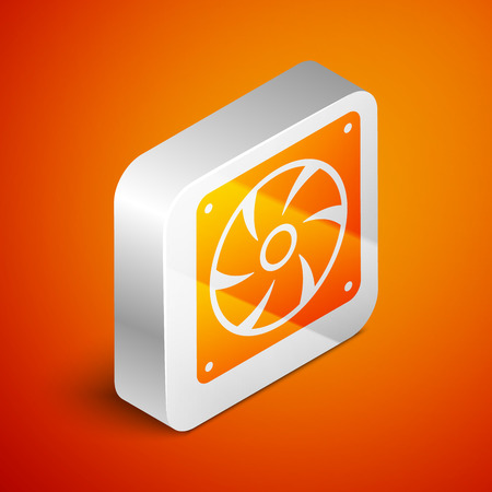 Isometric Computer cooler icon isolated on orange background. PC hardware fan. Silver square button. Vector Illustration