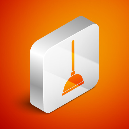 Isometric Rubber plunger with wooden handle for pipe cleaning icon isolated on orange background. Toilet plunger. Silver square button. Vector Illustration Imagens - 123929779