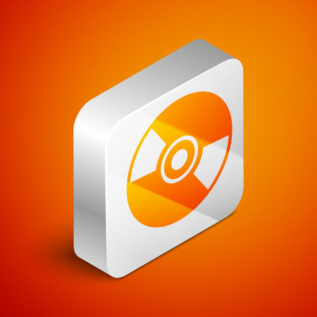 Isometric CD or DVD disk icon isolated on orange background. Compact disc sign. Silver square button. Vector Illustration