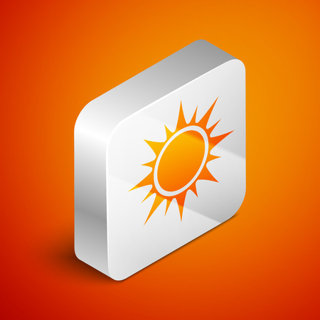 Isometric Sun icon isolated on orange background. Silver square button. Vector Illustration Ilustrace
