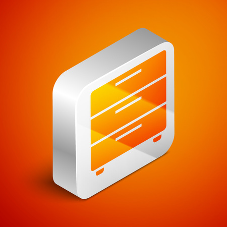 Isometric Furniture nightstand icon isolated on orange background. Silver square button. Vector Illustration 向量圖像