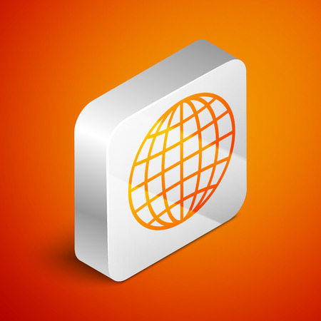 Isometric Earth globe icon isolated on orange background. Silver square button. Vector Illustration Ilustração