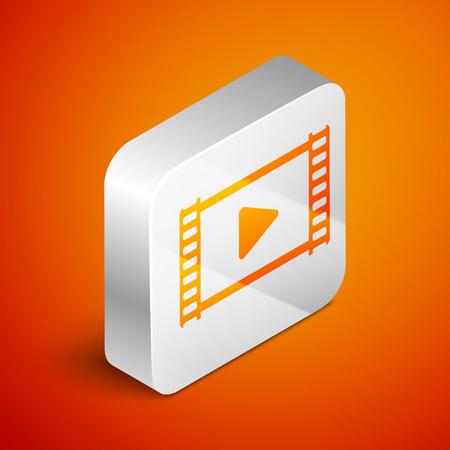 Isometric Play Video icon isolated on orange background. Film strip with play sign. Silver square button. Vector Illustration