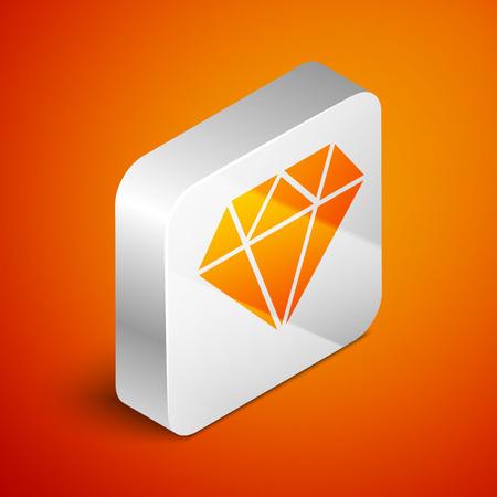 Isometric Diamond icon isolated on orange background. Jewelry symbol. Gem stone. Silver square button. Vector Illustration