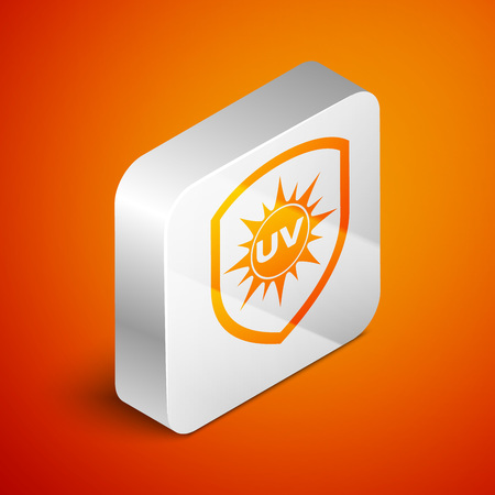Isometric UV protection icon isolated on orange background. Sun and shield. Ultra violet rays radiation. SPF sun sign. Silver square button. Vector Illustration