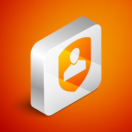 Isometric User protection icon isolated on orange background. Secure user login, password protected, personal data protection, authentication icon. Silver square button. Vector Illustration Illustration