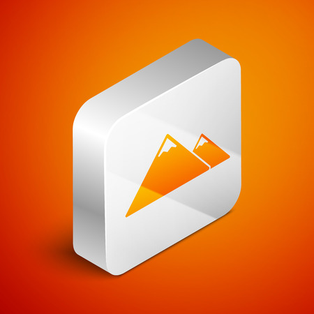 Isometric Mountains icon isolated on orange background. Symbol of victory or success concept. Silver square button. Vector Illustration