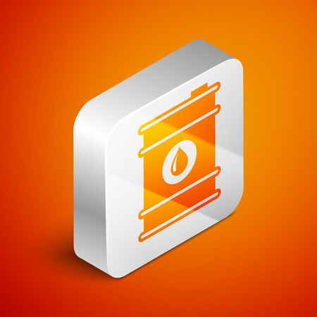 Isometric Barrel oil icon isolated on orange background. Silver square button. Vector Illustration