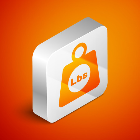 Isometric Weight pounds icon isolated on orange background. Pounds weight block for weight lifting and scale. Mass symbol. Silver square button. Vector Illustration