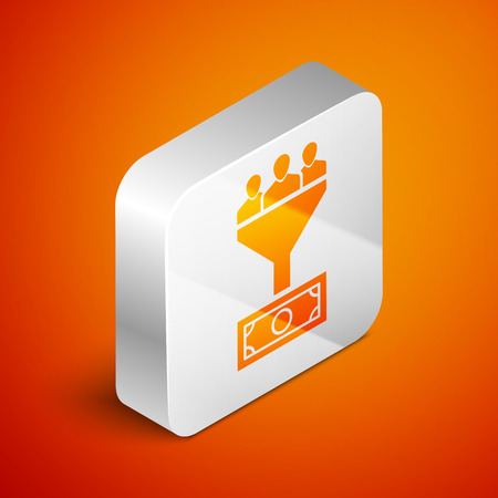 Isometric Lead management icon isolated on orange background. Funnel with people, money. Target client business concept. Silver square button. Vector Illustration  イラスト・ベクター素材