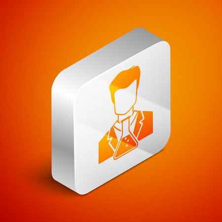 Isometric Scientist and test tube icon isolated on orange background. Scientist chemist analyzes laboratory flask. Silver square button. Vector Illustration