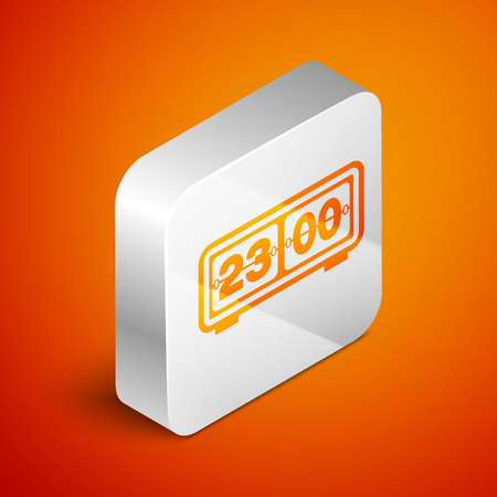 Isometric Retro flip clock icon isolated on orange background. Wall flap clock, number counter template, all digits with flips. Silver square button. Vector Illustration