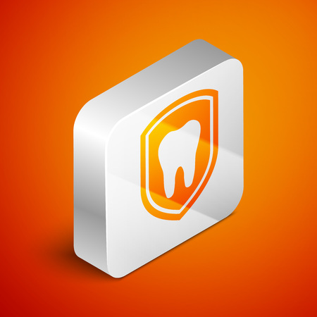 Isometric Dental protection icon isolated on orange background. Tooth on shield logo icon. Silver square button. Vector Illustration