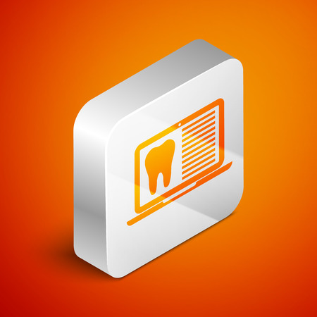 Isometric Laptop with dental card or patient medical records icon isolated on orange background. Dental insurance. Dental clinic report. Silver square button. Vector Illustration