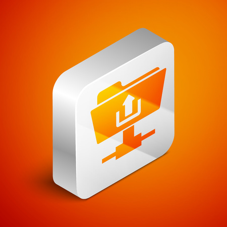 Isometric FTP folder upload icon isolated on orange background. Concept of software update, transfer protocol, router, teamwork tool management, copy process. Silver square button. Vector Illustration Vectores