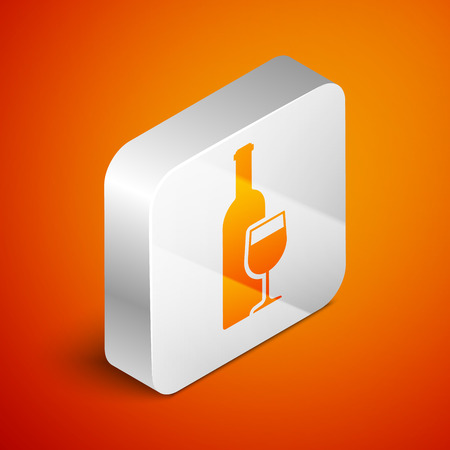 Isometric Wine bottle with wine glass icon isolated on orange background. Silver square button. Vector Illustration
