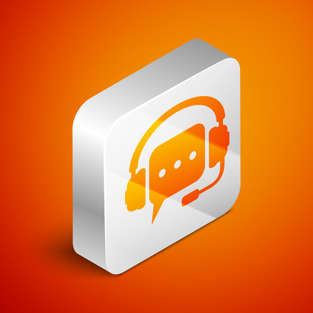 Isometric Headphones with speech bubble icon on orange background. Support customer services, hotline, call center, guideline, faq, maintenance, assistance. Silver square button. Vector Illustration
