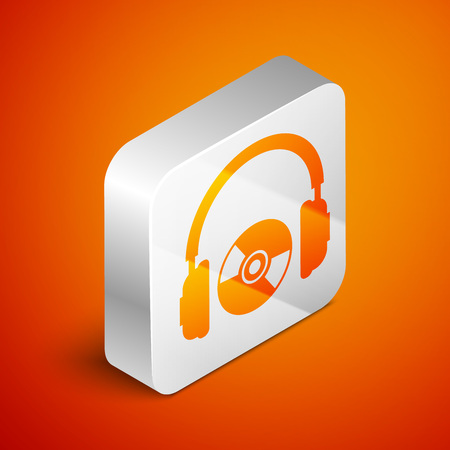 Isometric Headphones and CD or DVD icon isolated on orange background. Earphone sign. Compact disk symbol. Silver square button. Vector Illustration Illustration