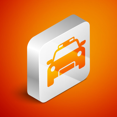 Isometric Police car and police flasher icon isolated on orange background. Emergency flashing siren. Silver square button. Vector Illustration Illustration