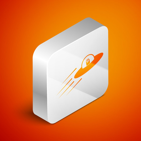 Isometric UFO flying spaceship and alien icon isolated on orange background. Flying saucer. Alien space ship. Futuristic unknown flying object. Silver square button. Vector Illustration