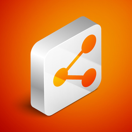 Isometric Share icon isolated on orange background. Share, sharing, communication pictogram, social media, connection, network, distribute sign. Silver square button. Vector Illustration