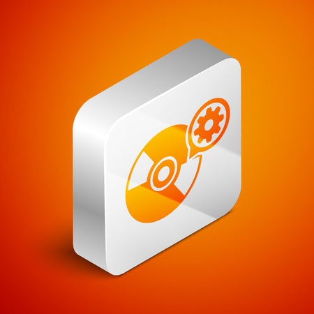 Isometric CD or DVD disk and gear icon isolated on orange background. Adjusting app, service concept, setting options, maintenance, repair, fixing. Silver square button. Vector Illustration