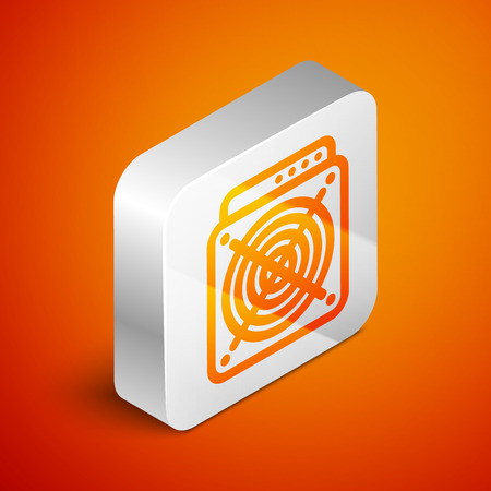 Isometric ASIC Miner icon isolated on orange background. Cryptocurrency mining equipment and hardware. Application specific integrated circuit. Silver square button. Vector Illustration