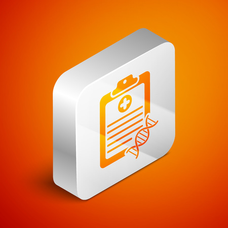 Isometric Clipboard with DNA analysis icon isolated on orange background. Genetic engineering, genetics testing, cloning, paternity testing. Silver square button. Vector Illustration