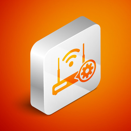Isometric Router and signal and gear icon isolated on orange background. Adjusting app, service concept, setting options, maintenance, repair, fixing. Silver square button. Vector Illustration Illustration