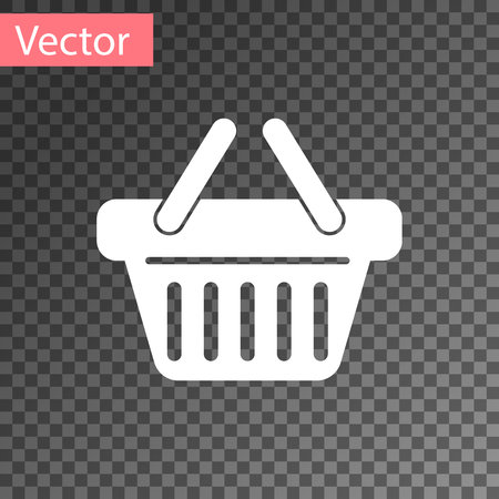 White Shopping basket icon isolated on transparent background. Vector Illustration