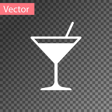 White Martini glass icon isolated on transparent background. Cocktail icon. Wine glass icon. Vector Illustration Stock Vector - 123870134