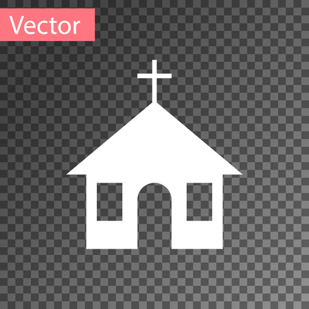 White Church building icon isolated on transparent background. Christian Church. Religion of church. Vector Illustration