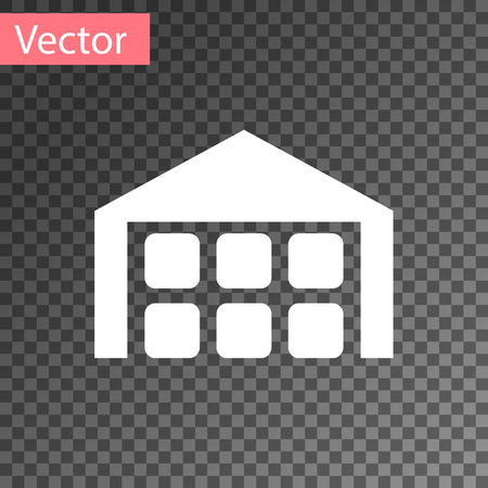White Warehouse icon isolated on transparent background. Vector Illustration