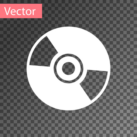 White CD or DVD disk icon isolated on transparent background. Compact disc sign. Vector Illustration