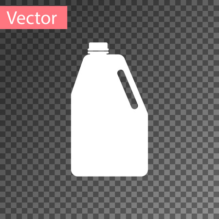 White Household chemicals blank plastic bottle icon isolated on transparent background. Liquid detergent or soap, stain remover, laundry bleach. Vector Illustration