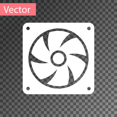 White Computer cooler icon isolated on transparent background. PC hardware fan. Vector Illustration Illustration