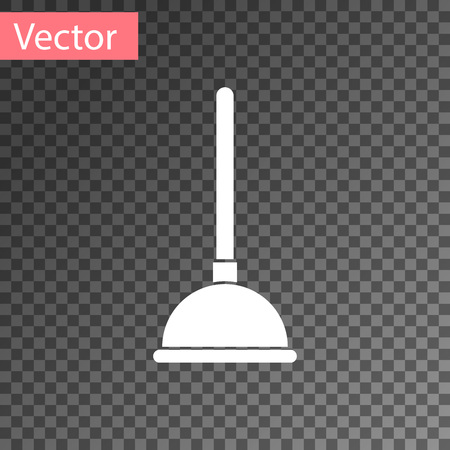 White Rubber plunger with wooden handle for pipe cleaning icon isolated on transparent background. Toilet plunger. Vector Illustration
