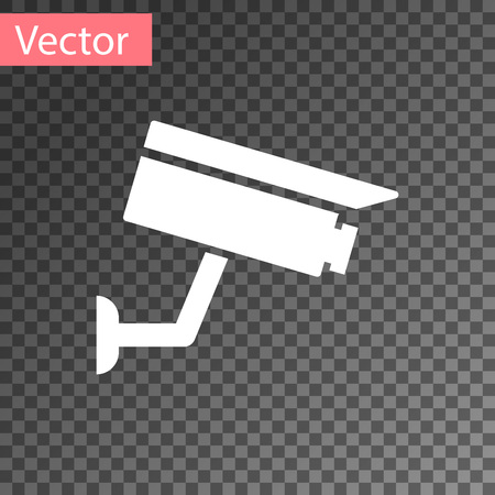 White Security camera icon isolated on transparent background. Vector Illustration