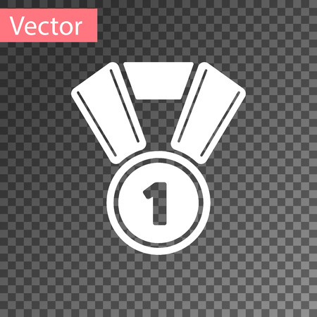 White Medal icon isolated on transparent background. Winner symbol. Vector Illustration