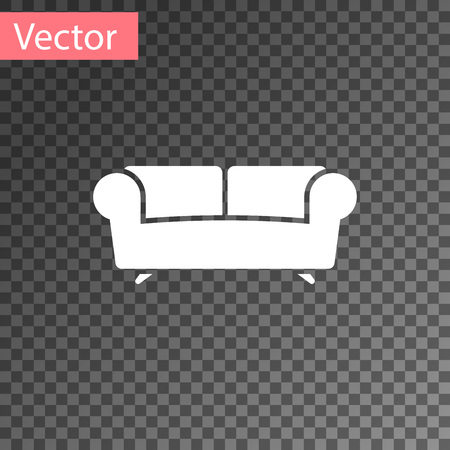 White Sofa icon isolated on transparent background. Vector Illustration