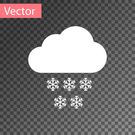 White Cloud with snow icon isolated on transparent background. Cloud with snowflakes. Single weather icon. Snowing sign. Vector Illustration