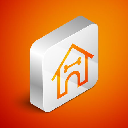 Isometric Dog house and bone icon isolated on orange background. Dog kennel. Silver square button. Vector Illustration