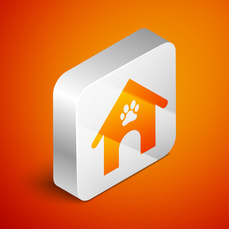 Isometric Dog house and paw print pet icon isolated on orange background. Dog kennel. Silver square button. Vector Illustration
