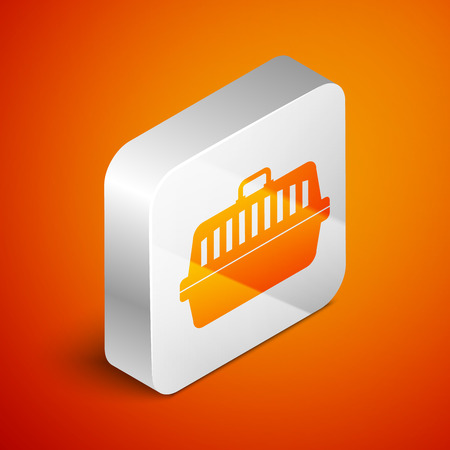 Isometric Pet carry case icon isolated on orange background. Carrier for animals, dog and cat. Container for animals. Animal transport box. Silver square button. Vector Illustration