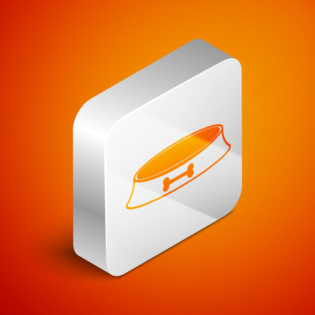Isometric Pet food bowl for cat or dog icon isolated on orange background. Dog bone sign. Silver square button. Vector Illustration  イラスト・ベクター素材
