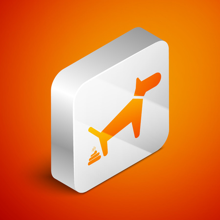 Isometric Dog pooping icon isolated on orange background. Dog goes to the toilet. Dog defecates. The concept of place for walking pets. Silver square button. Vector Illustration