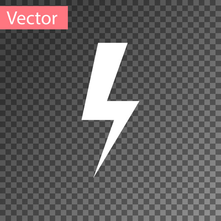 White Lightning bolt icon isolated on transparent background. Flash icon. Charge flash icon. Thunder bolt. Lighting strike. Vector Illustration Ilustracja